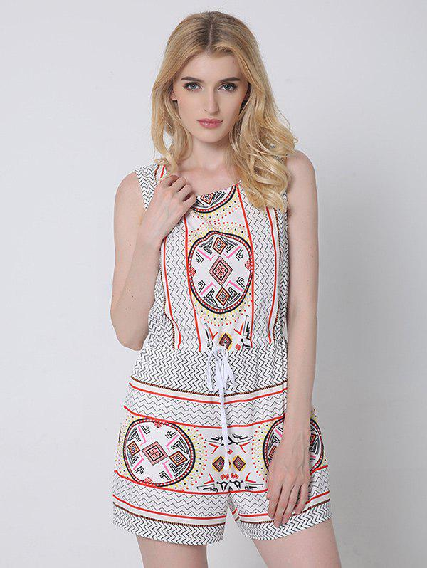 Ethnic Style Tribal Pattern Backless Romper