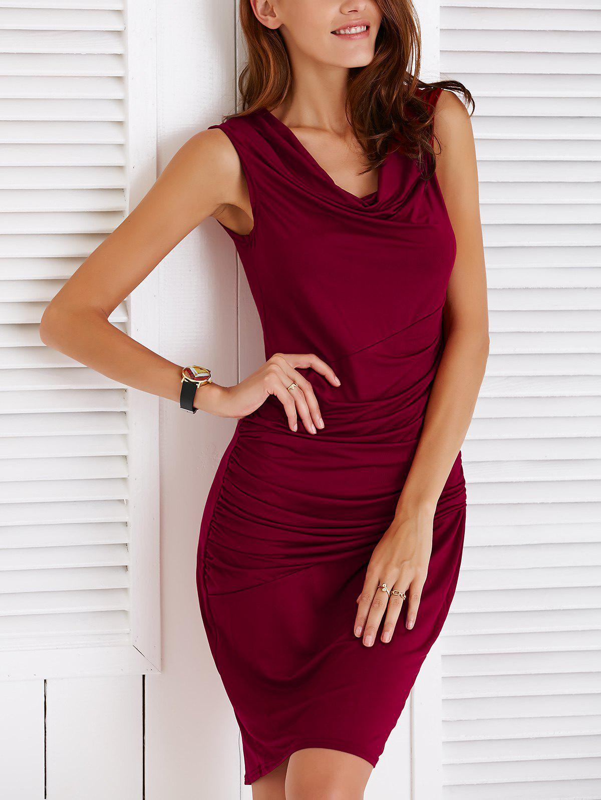 Chic Sleeveless Cowl Neck Slimming Ruched Pure Color Women's Dress - WINE RED S