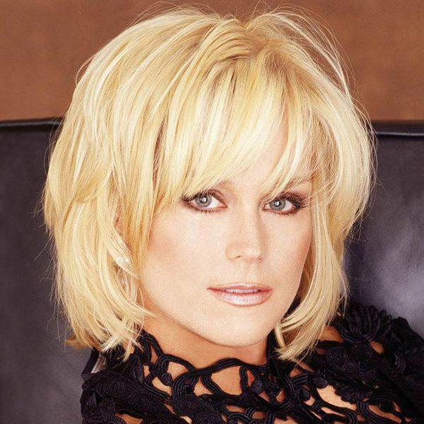 Attractive Short Human Hair Side Bang Fluffy Wig For Women - BLONDE
