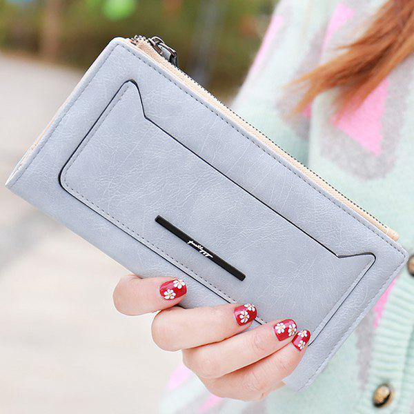 Trendy Solid Colour and Zipper Design Women's Wallet