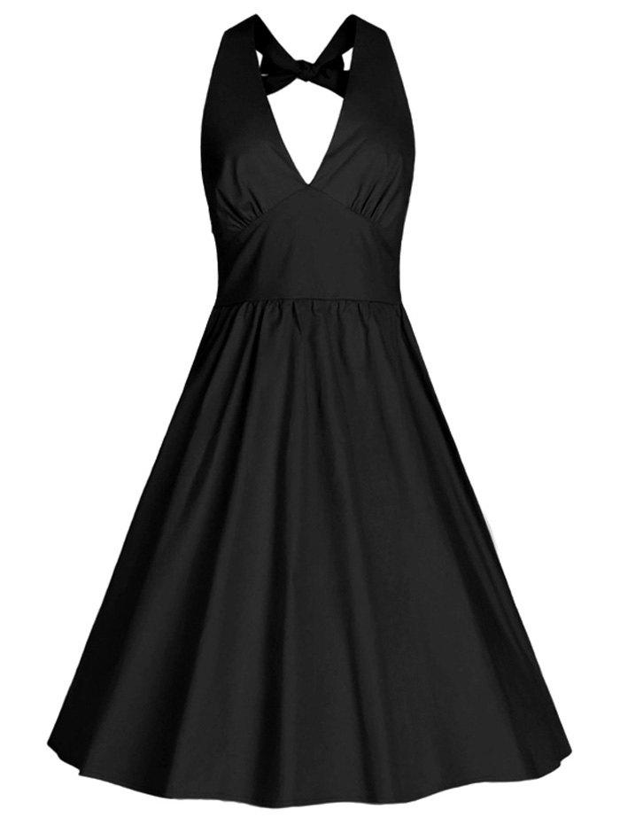 Charming Pure Color Back Bowknot Swing Dress For Women - BLACK 2XL