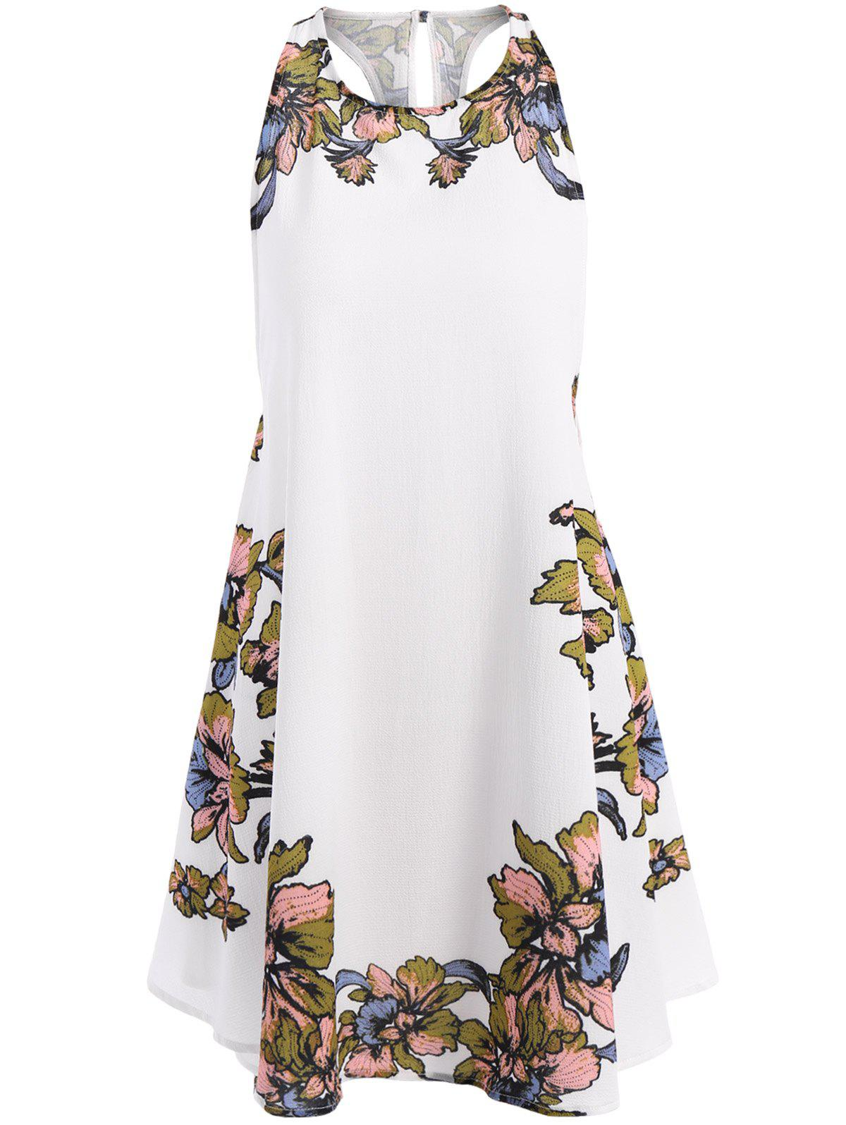 Casual Bohemian Style Women's Scoop Neck Floral Print Lace-Up Asymmetrical Dress - WHITE M