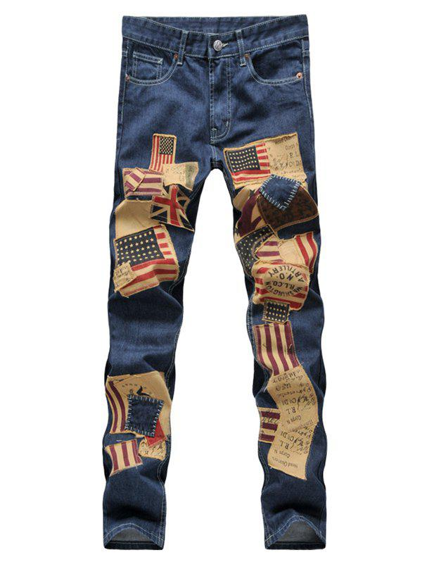 Patched Zipper Fly Straight Leg Men's Jeans