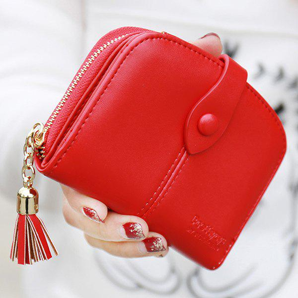 Ladylike Solid Colour and Tassels Design Women's Wallet - RED