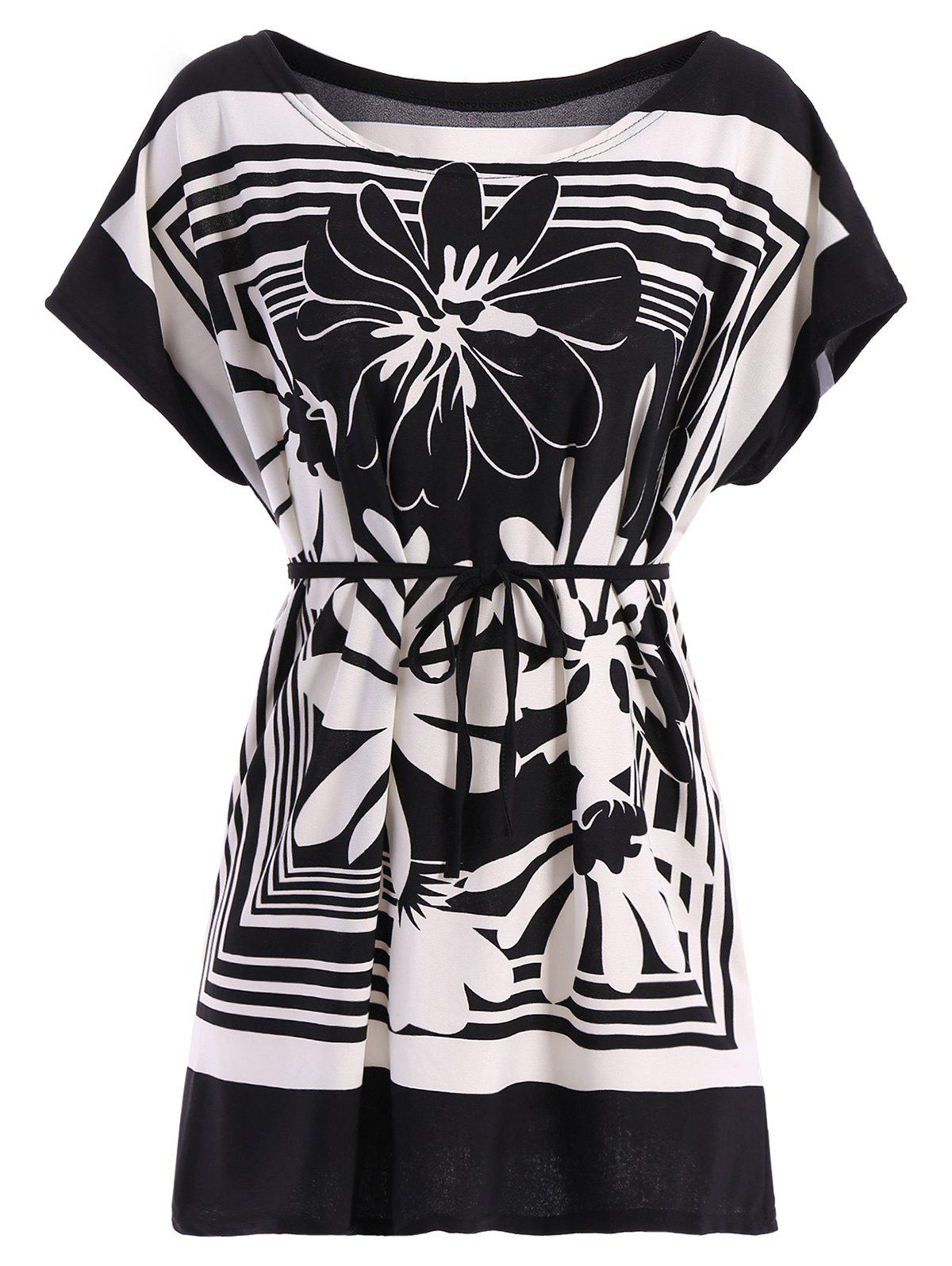 Casual Street Style Floral Printed Loose-Fitting Belted T-Shirt For Women - BLACK ONE SIZE(FIT SIZE XS TO M)