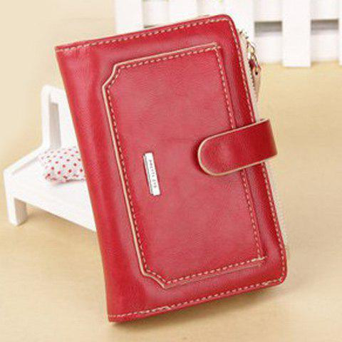 Trendy Stitching and Bi-Fold Design Women's Wallet - RED