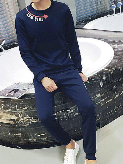 Round Neck Arrows and Letter Print Plus Size Long Sleeve Men's Sport Suit ( Sweatshirt + Pants )