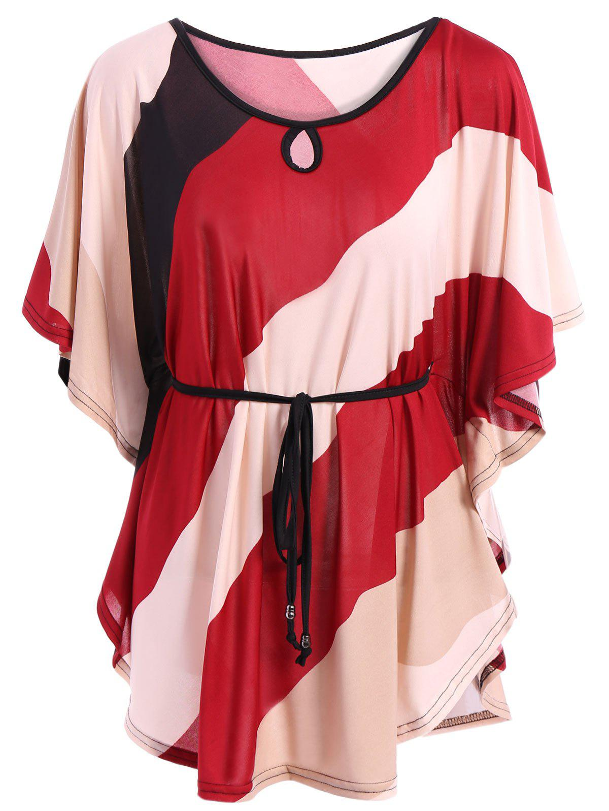 Loose-Fitting Women's Bat Sleeve Striped Plus Size T-Shirt - WINE RED 5XL