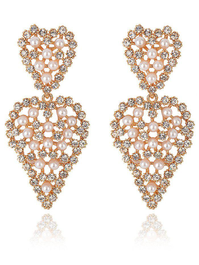 Faux Pearl Rhinestoned Heart Drop Earrings - GOLDEN