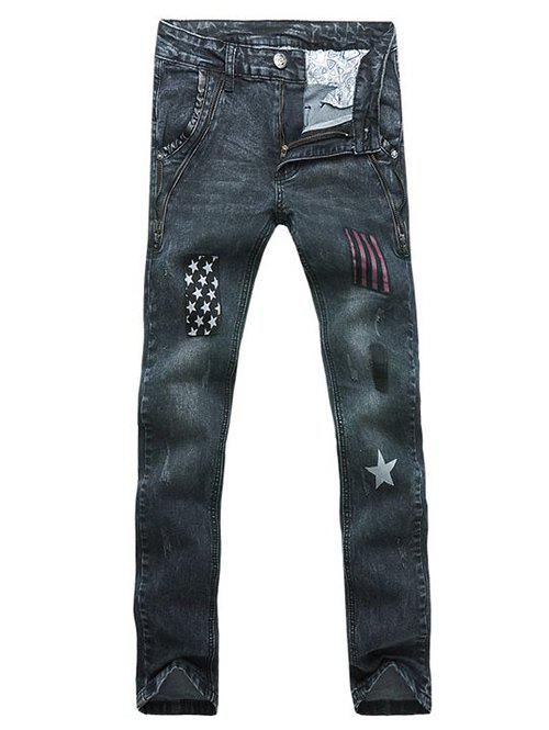 Stars Striped Patch Zipper Embellished Scratched Men's Straight Leg Jeans