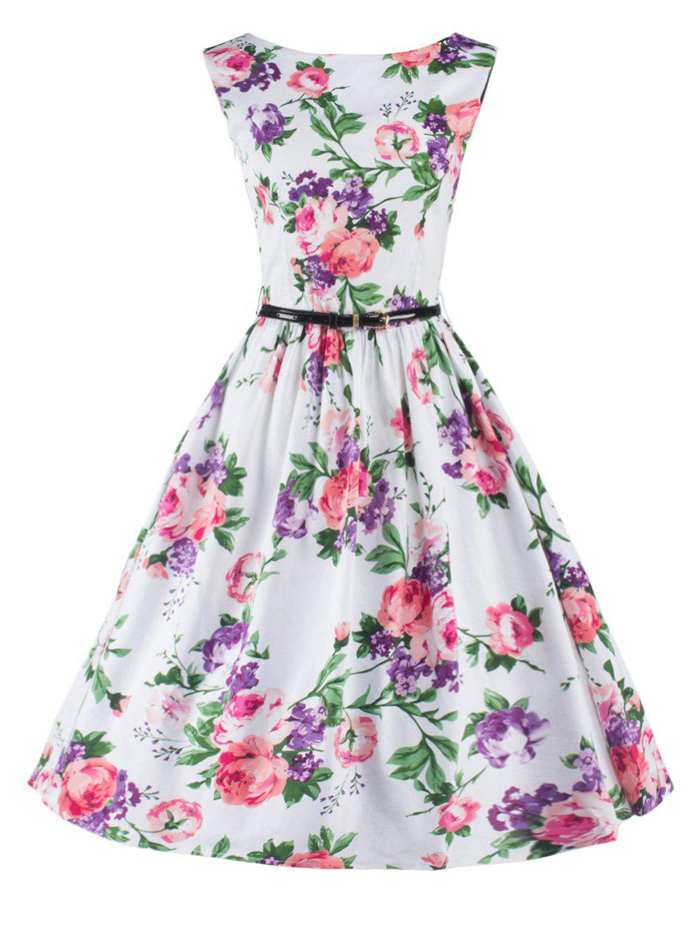 Charming Sleeveless Floral Flare Dress For Women - WHITE 2XL