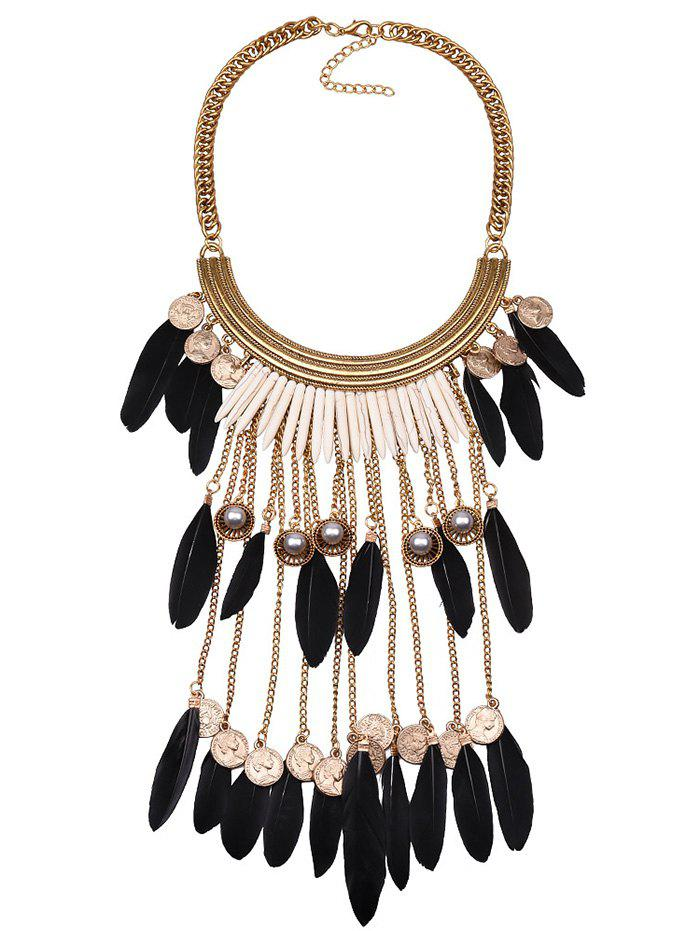 Vintage Faux Pearl Feather Coins Necklace - BLACK