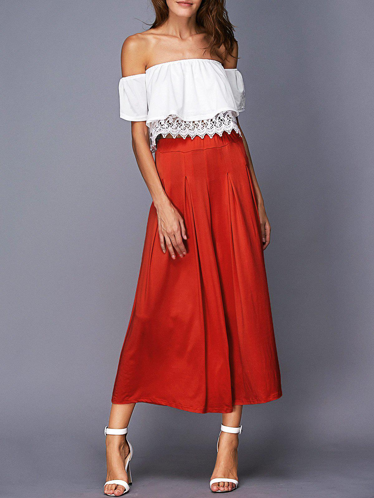 Chic Off The Shoulder Crop Top + Furcal Wide Leg Pants Womens TwinsetWomen<br><br><br>Size: M<br>Color: RED