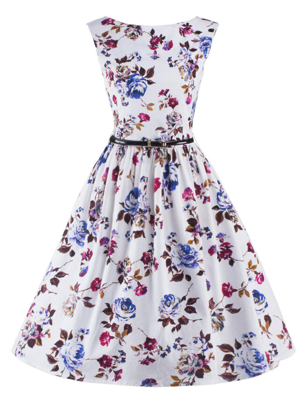 Graceful Sleeveless Floral Flare Dress For Women