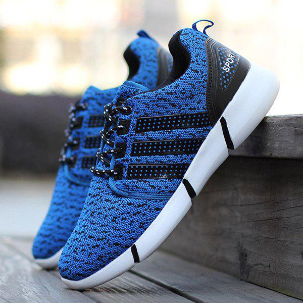 Stripe Mesh Sneakers - BLUE 43