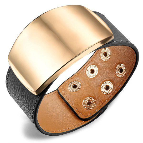 Simple Adjustable Metal Decorated Faux Leather Bracelet For Women