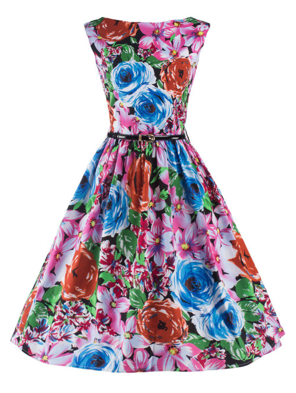 Elegant Sleeveless Floral Flare Dress For Women - COLORMIX 2XL