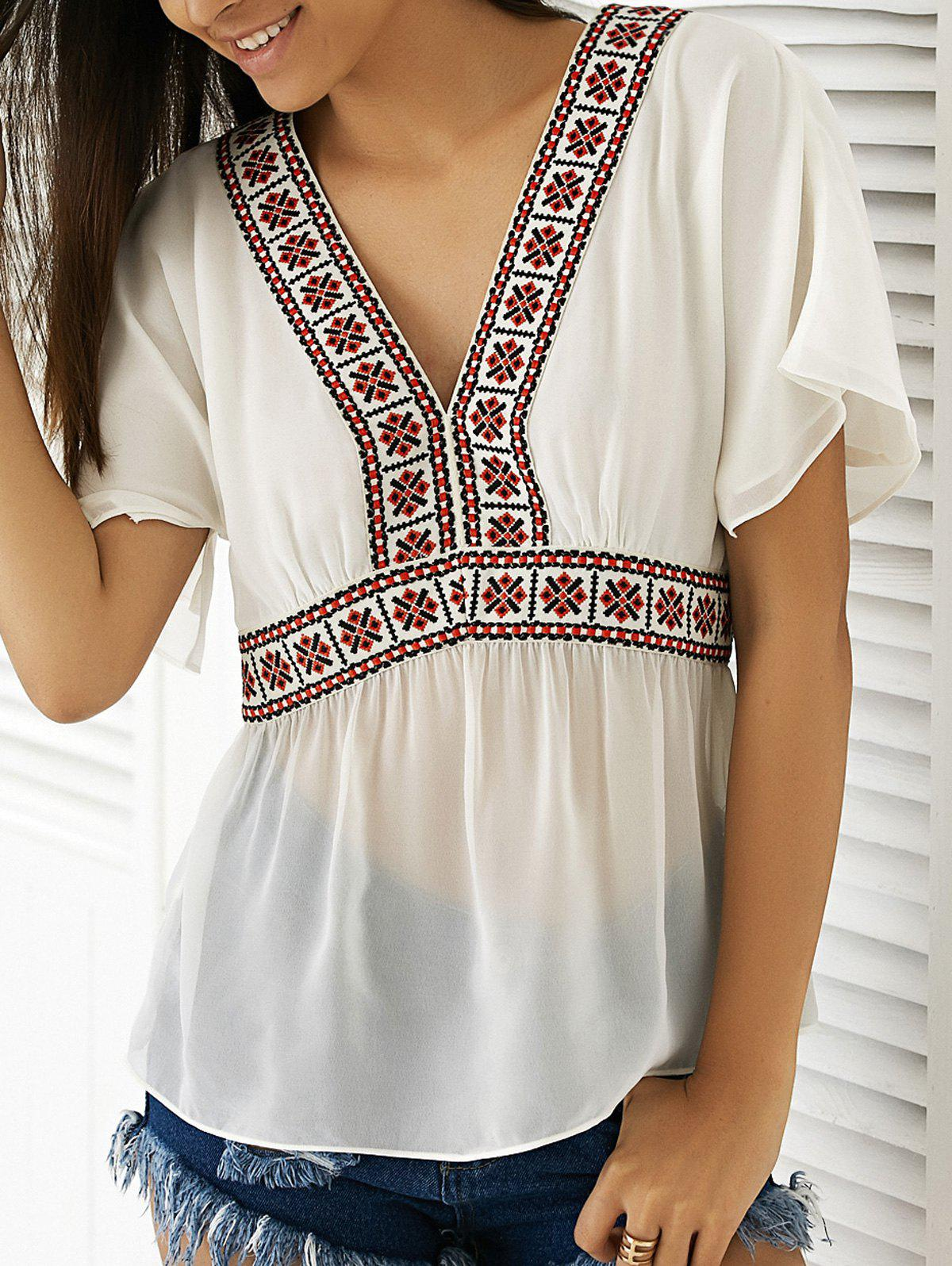 Casual Women's V-Neck Short Sleeve Tall Waist Loose-Fitting Top - WHITE XL