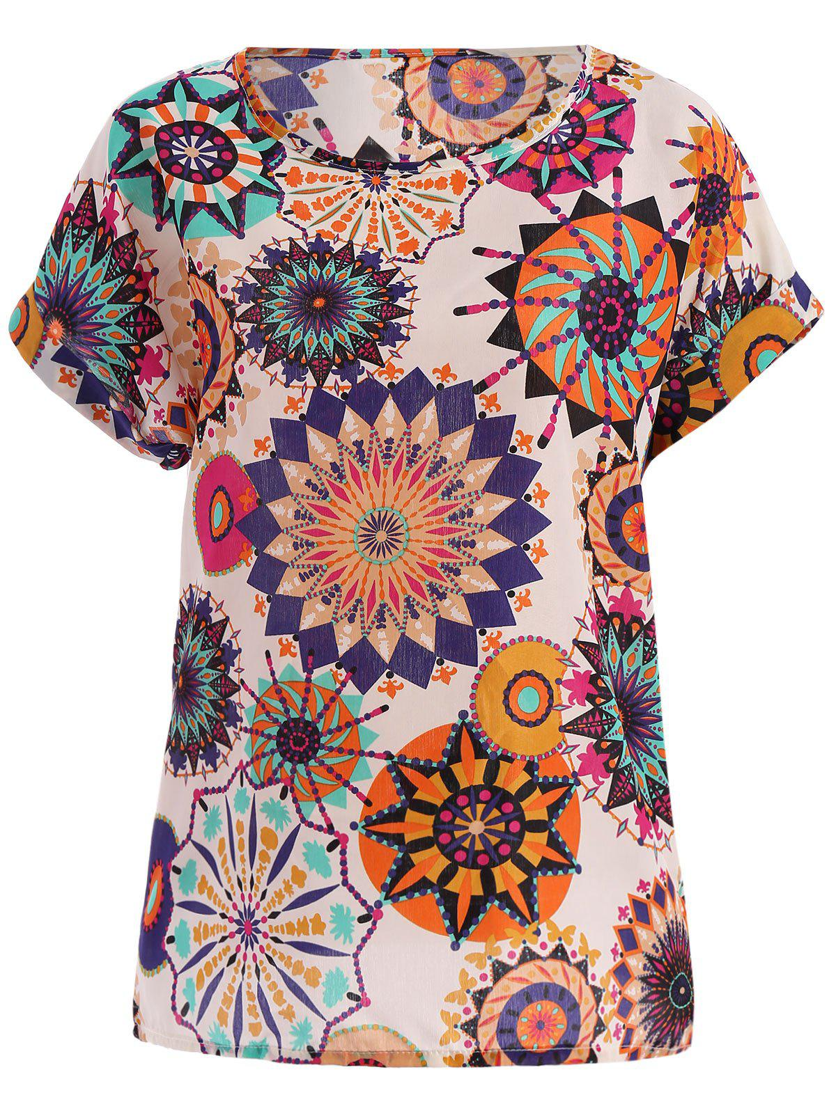 Tribal Bohemian Women's Plus Size Scoop Neck Floral Print Blouse - WHITE 2XL