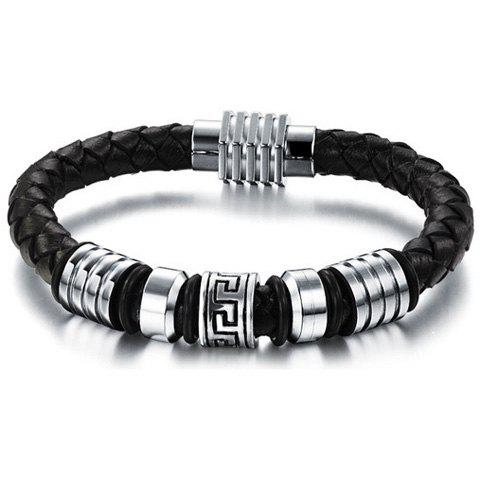 Fret Pattern Alloy Faux Leather Bracelet - BLACK
