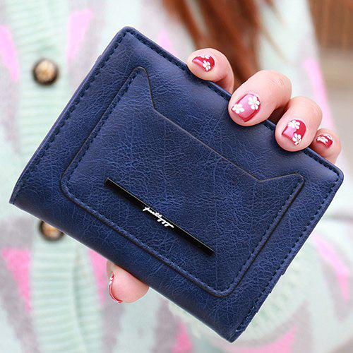 Simple Magnetic Closure and PU Leather Design Women's Wallet - DEEP BLUE