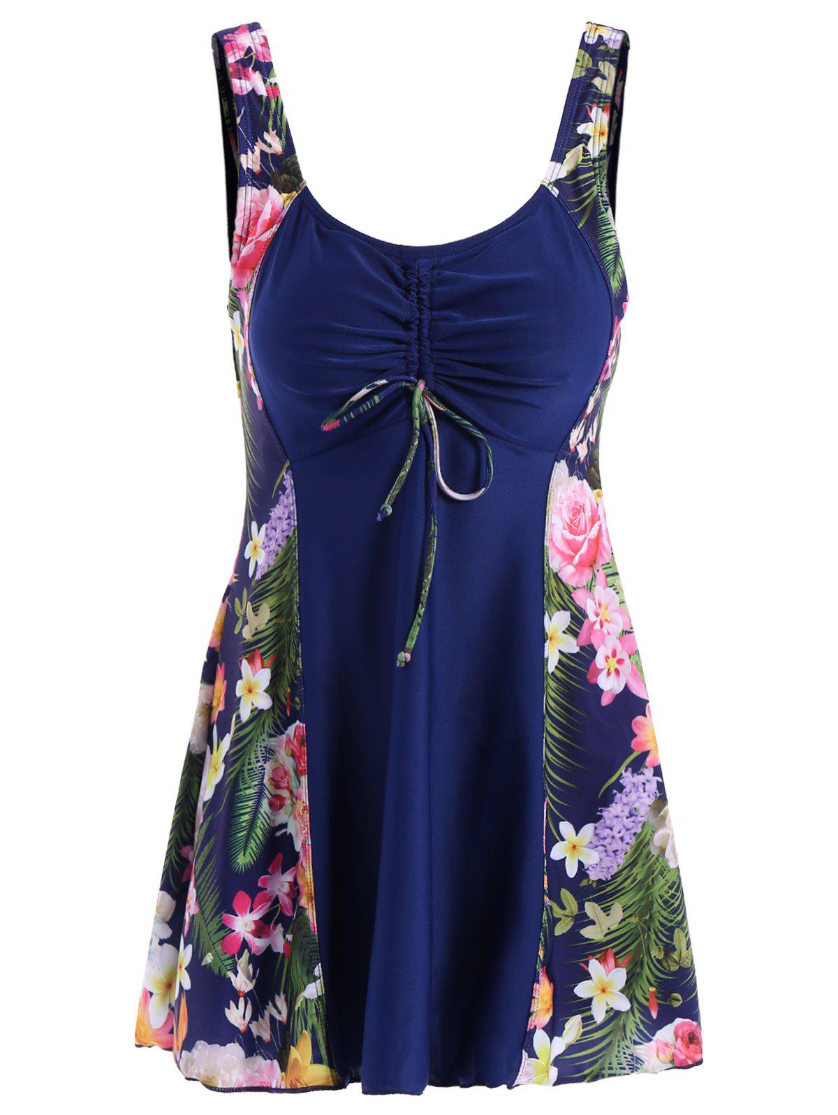 Chic Scoop Collar Plus Size Leaf Print One-Piece Women's Swimsuit - PURPLISH BLUE L