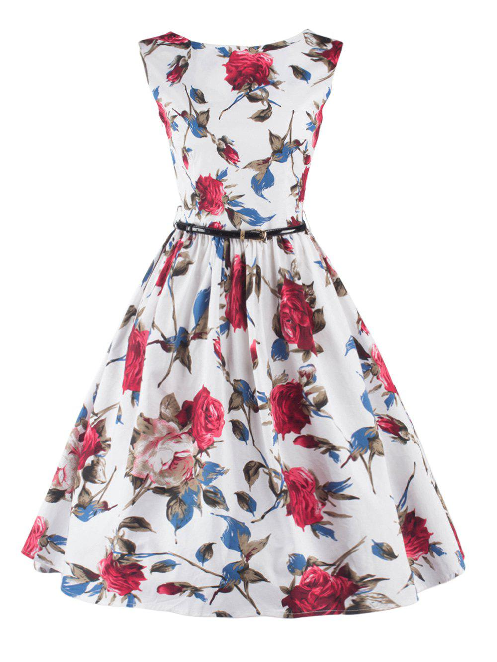 Stunning Sleeveless Floral Belted Cocktail Dress - WHITE 2XL