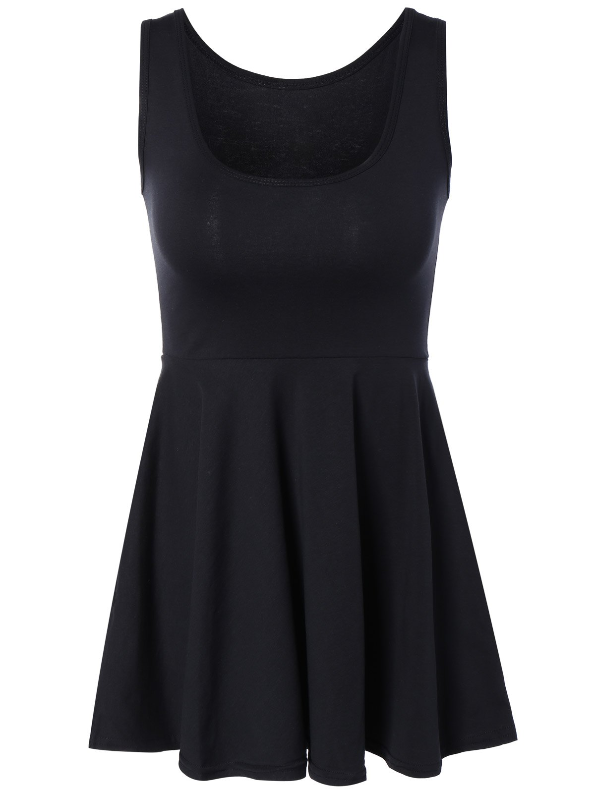 Sweet Pure Color Sleeveless Dress For WomenWomen<br><br><br>Size: ONE SIZE<br>Color: BLACK