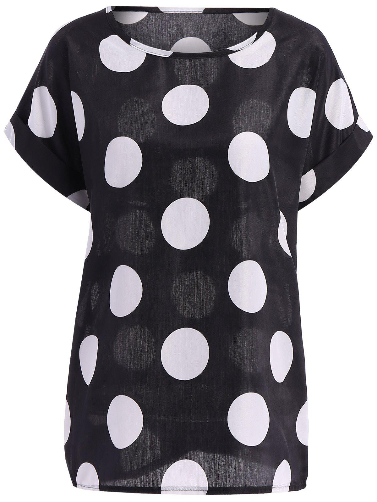 Casual Summer Women's Plus Size Scoop Neck Polka Dot Pattern Short Sleeves Blouse - BLACK 2XL
