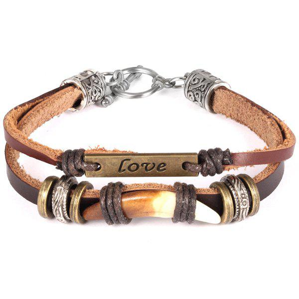 Simple Wolf Tooth Faux Leather Strand Bracelet For Men - COFFEE