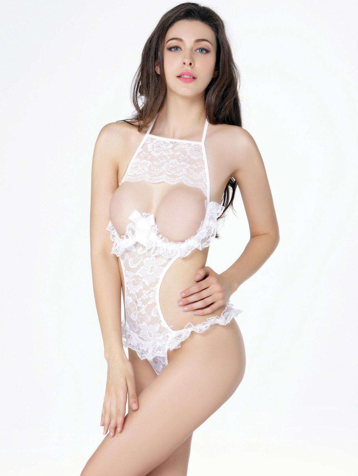 Hollow Out Ruffled Lace Halter Teddy breasted hollow out zip up teddy