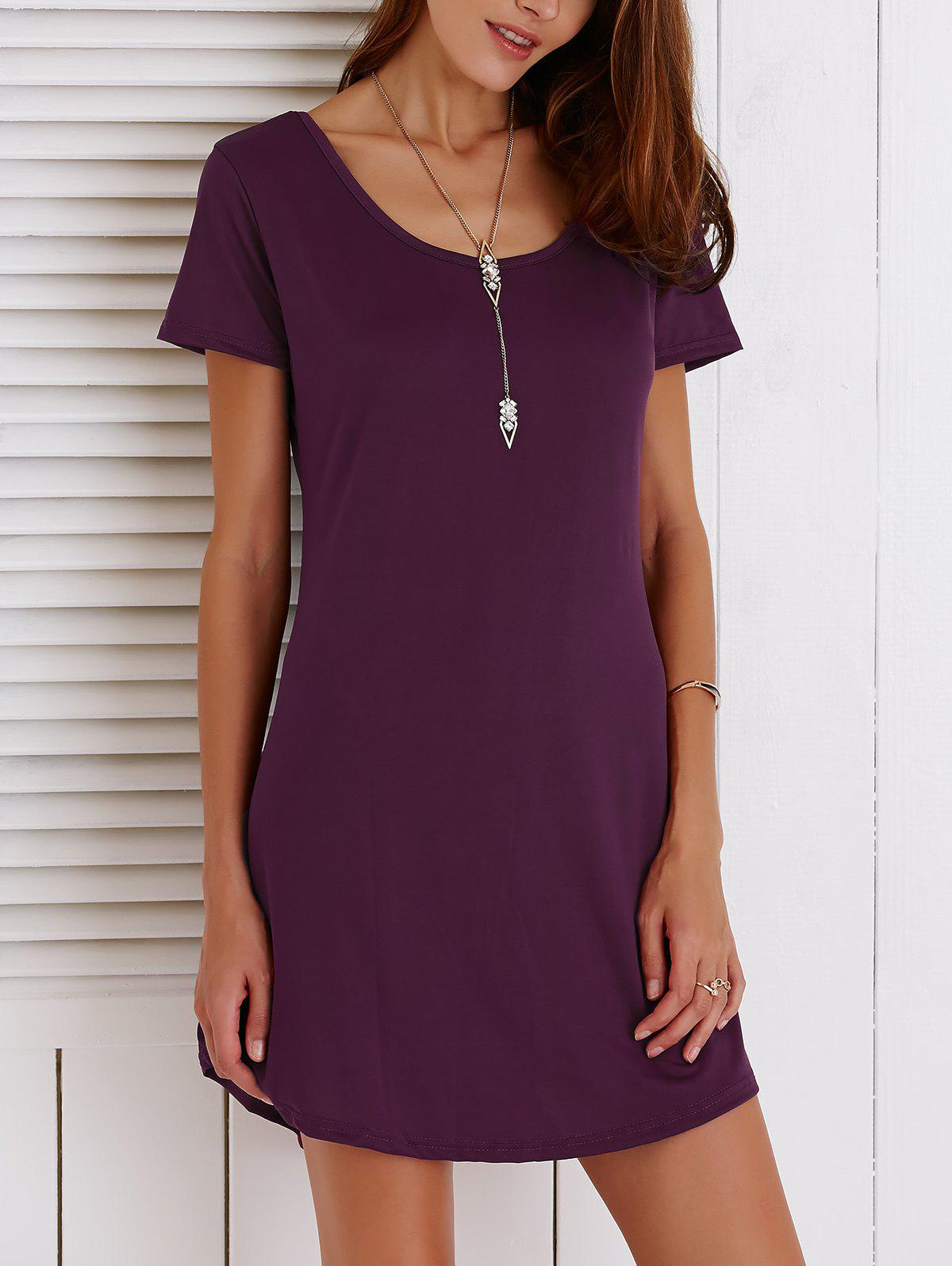 Hollow Out Short Sleeves Scoop Neck Dress - WINE RED 2XL