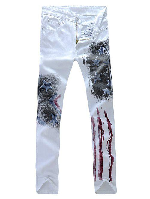 Stars Stripe Printed Zipper Fly Straight Leg Men's Jeans - WHITE 36