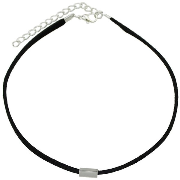 Chic Style Cut Out Rectangle Bar Black Band Choker Necklace For Women