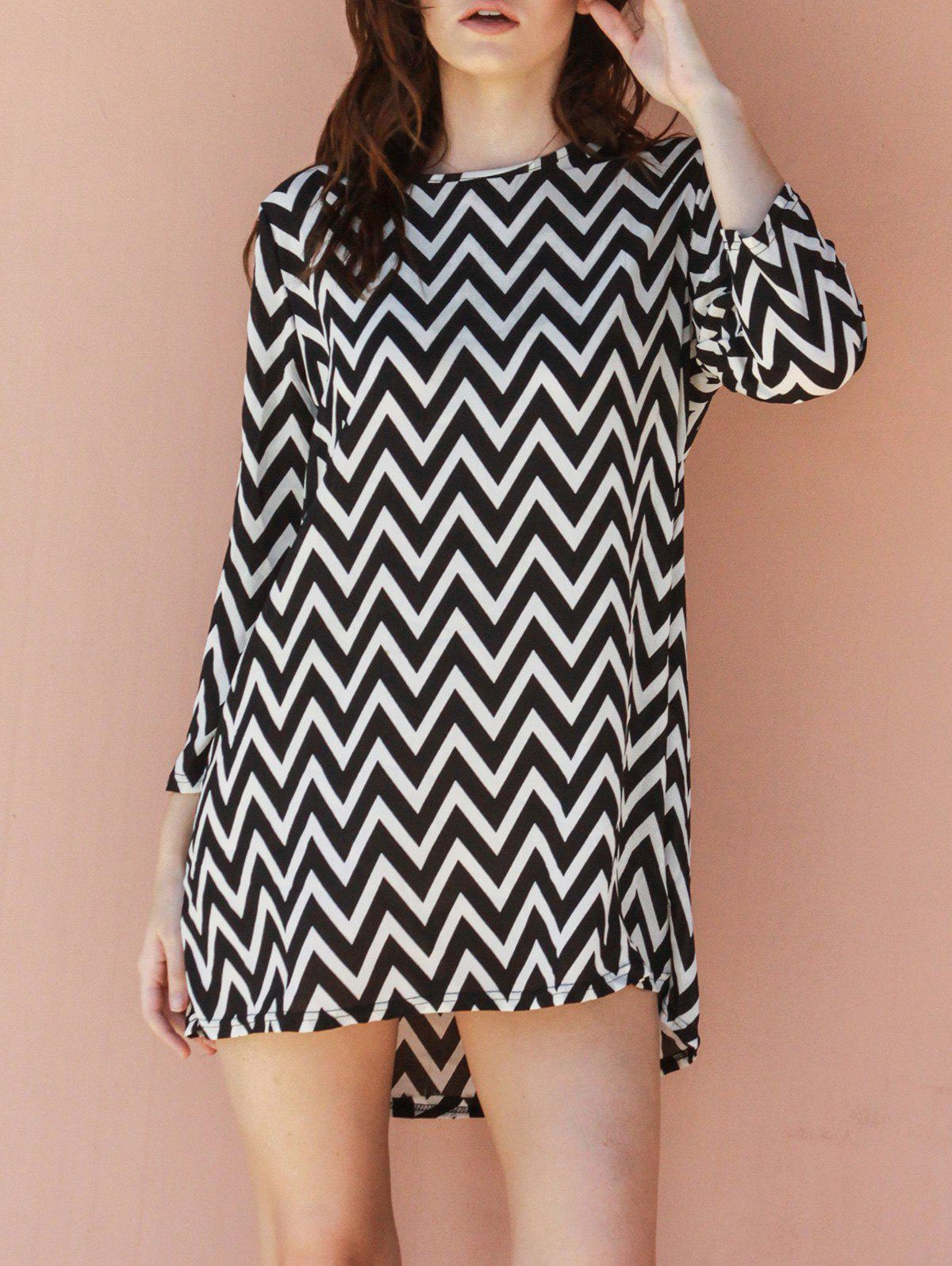 Casual Round Neck Long Sleeve Loose-Fitting Print Women's Dress - WHITE/BLACK ONE SIZE(FIT SIZE XS TO M)