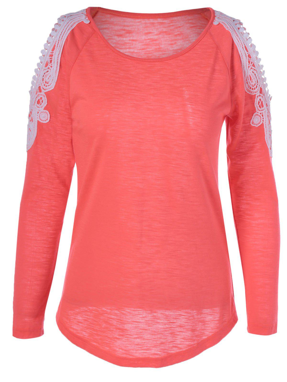 Sweet Long Sleeve Hit Color T-Shirt - ORANGE RED XL