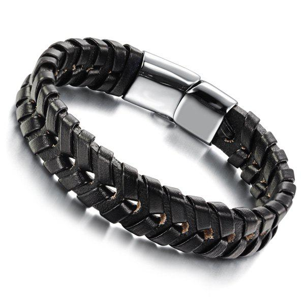 Simple Faux Leather Woven Bracelet For Men - BLACK