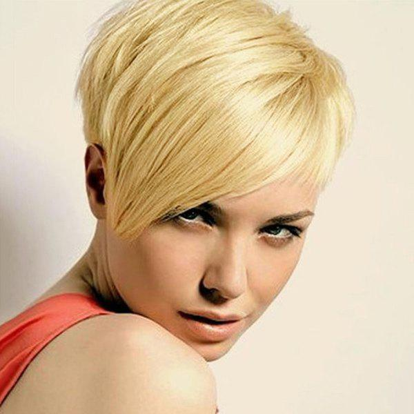 Fashion Fluffy Short Pixie Cut Women's Human Hair Side Bang Wig - GOLDEN BROWN/BLONDE