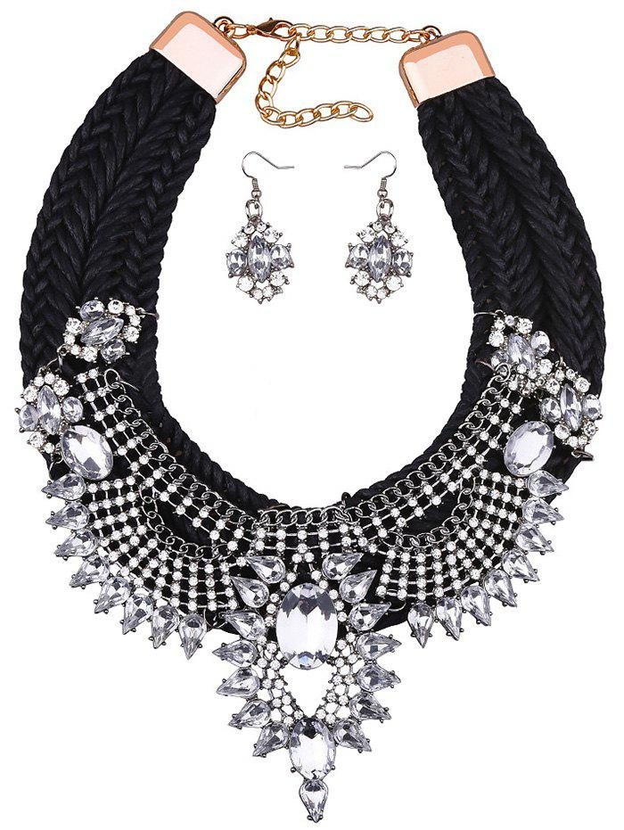 Chic Rhinestoned Woven Wedding Party Jewelry Set - BLACK