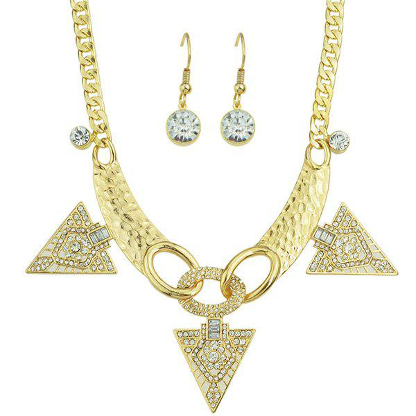 Triangle Rhinestone Necklace Set - GOLDEN