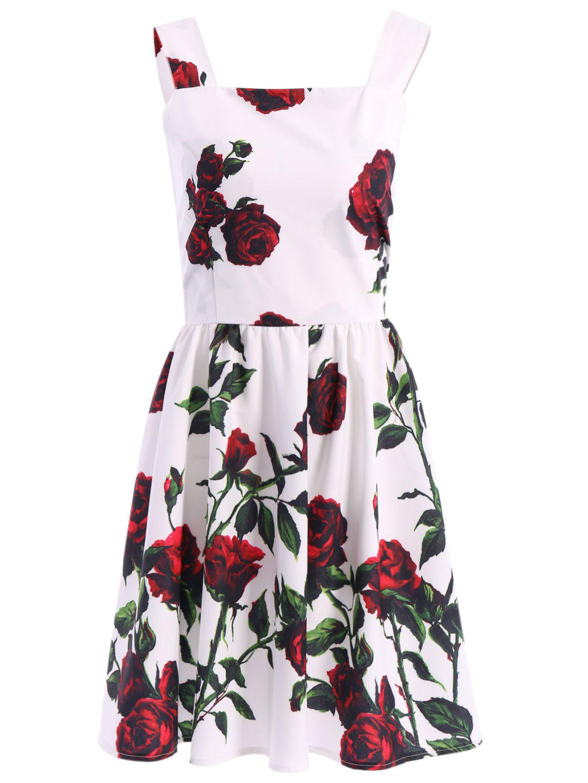 Vintage Sleeveless Square Neck Floral Print Women's Dress - WHITE L