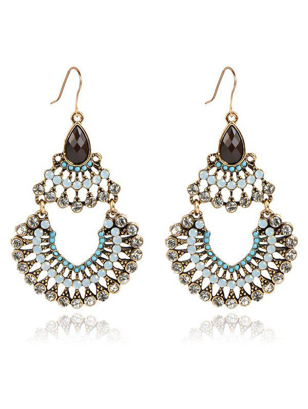Rhinestoned Hollow Out Drop Earrings