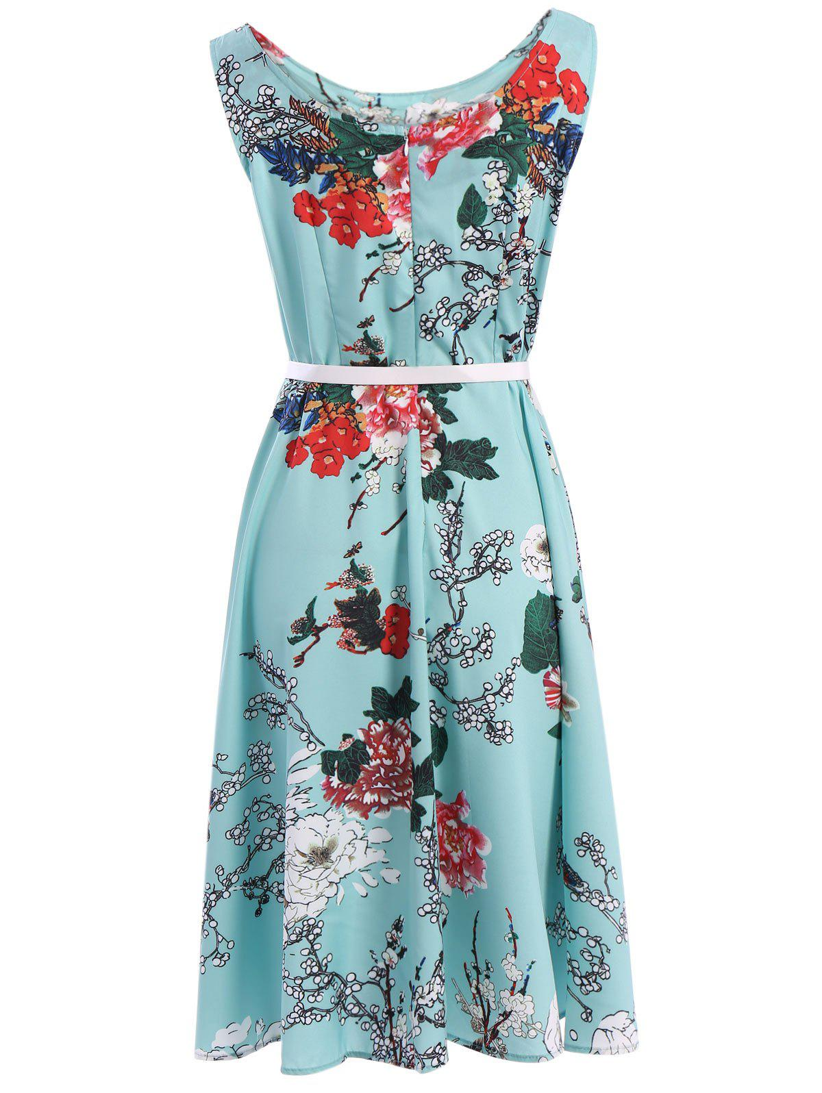 Vintage Women's Round Neck Sleeveless Floral Print Belted A-Line Dress - AZURE L