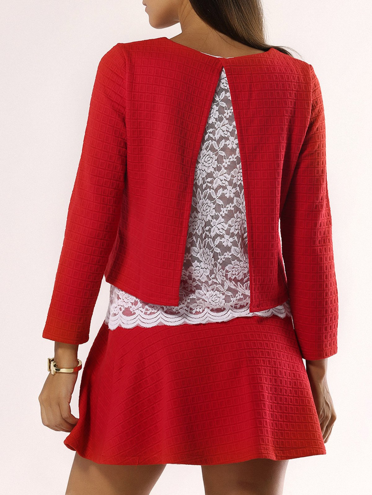 Sweet Back Slit Lace Top and Skirt Set For Women - RED XL