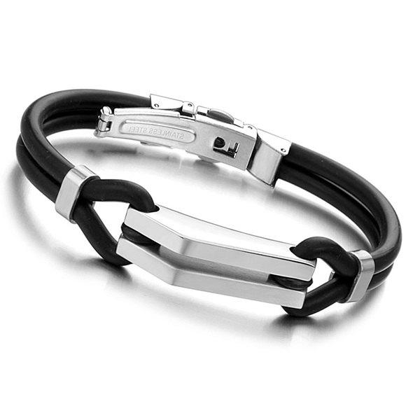 Simple Silicone Strand Bracelet For Men - BLACK