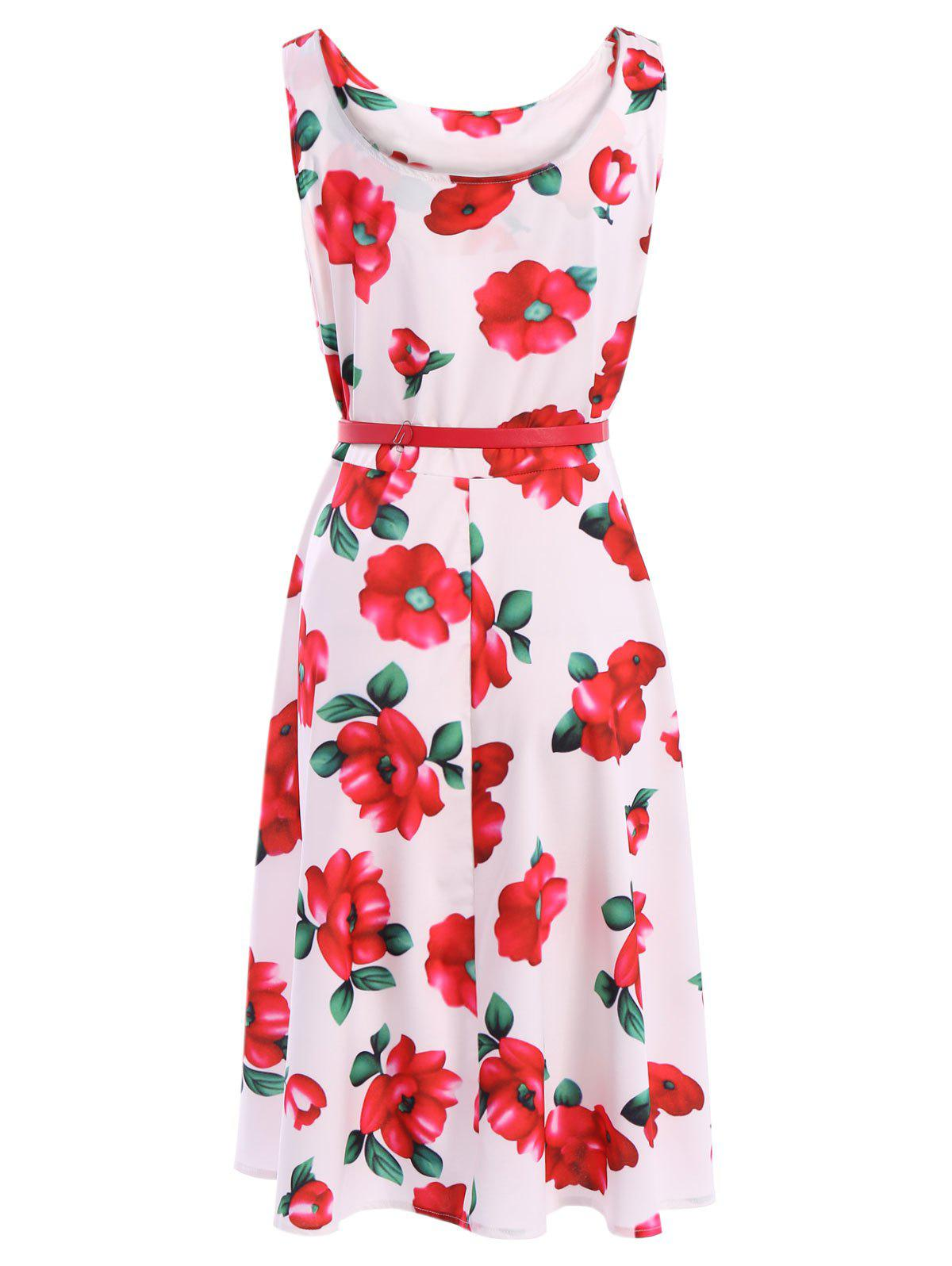 Vintage Women's Scoop Neck Sleeveless Floral Print Belted Flare Dress - RED XL