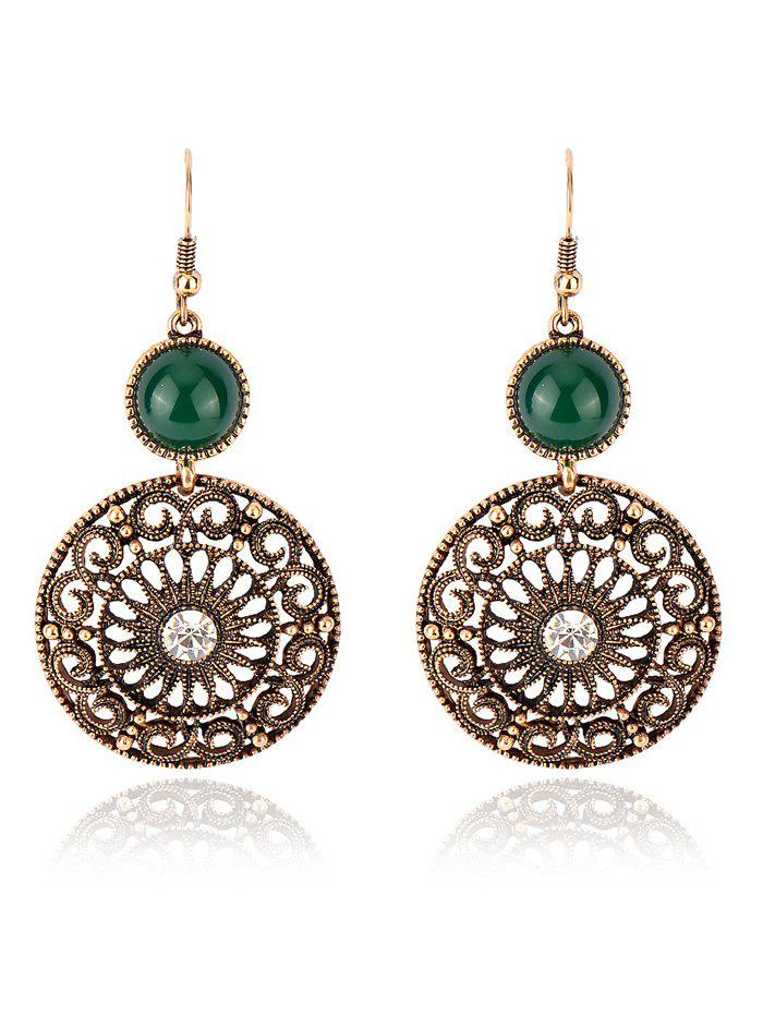 Vintage Rhinestone Filigree Floral Earrings - GREEN