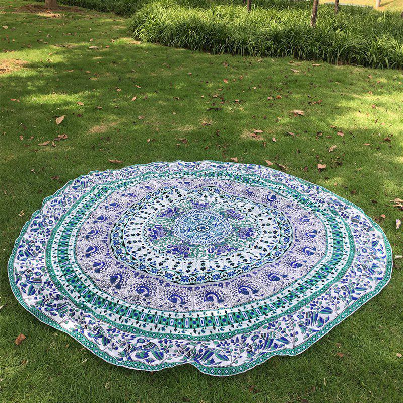 Retro Indian Style Mandala Elephant Pattern Green Chiffon Round Beach Throw - GREEN ONE SIZE