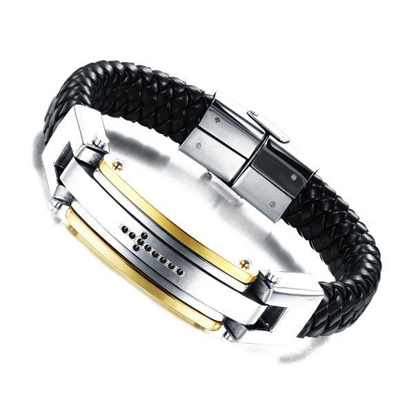 Simple Cross Faux Leather Braided Bracelet For Men - BLACK