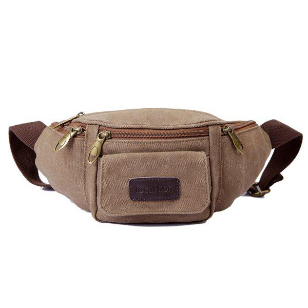 Casual Zippers and Solid Color Design Men's Waist Bag - COFFEE